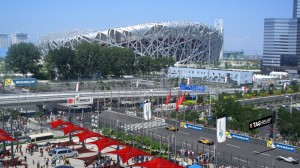 Formula E in Beijing, China - with Olympic stadium in the background
