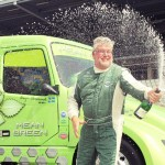 'Mean Green' driver, Boije Ovebrink celebrates his win in the customary manner