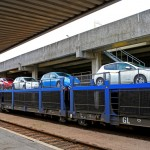 Nissan Leafs on SNCF Auto-Train