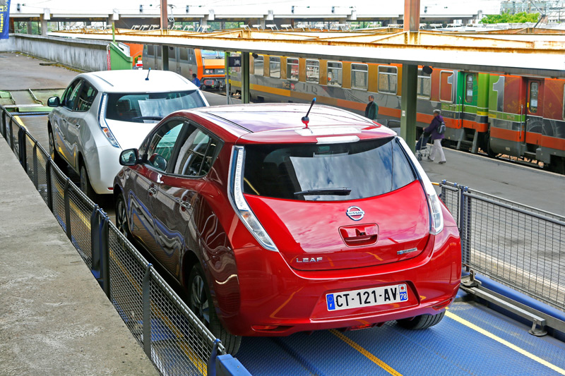 Two Nissan Leafs On Sncf Auto Train