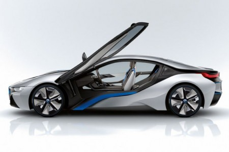 BMW i8 side profile with doors open