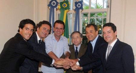 Rio welcomes Formula E - Lucas di Grassi, Alejandro Agag, Mr. Eduardo Paes, Jean Todt, Mr. Sergio Cabral and Enrique Bañuelos