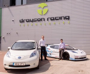 Gian Avignone from Drayson Racing Technologies with Dave A. Roberts from EA Technology with a Nissan LEAF being used for My Electric Avenue trials, together with Nissan's zero emission LEAF NISMO RC racing car.