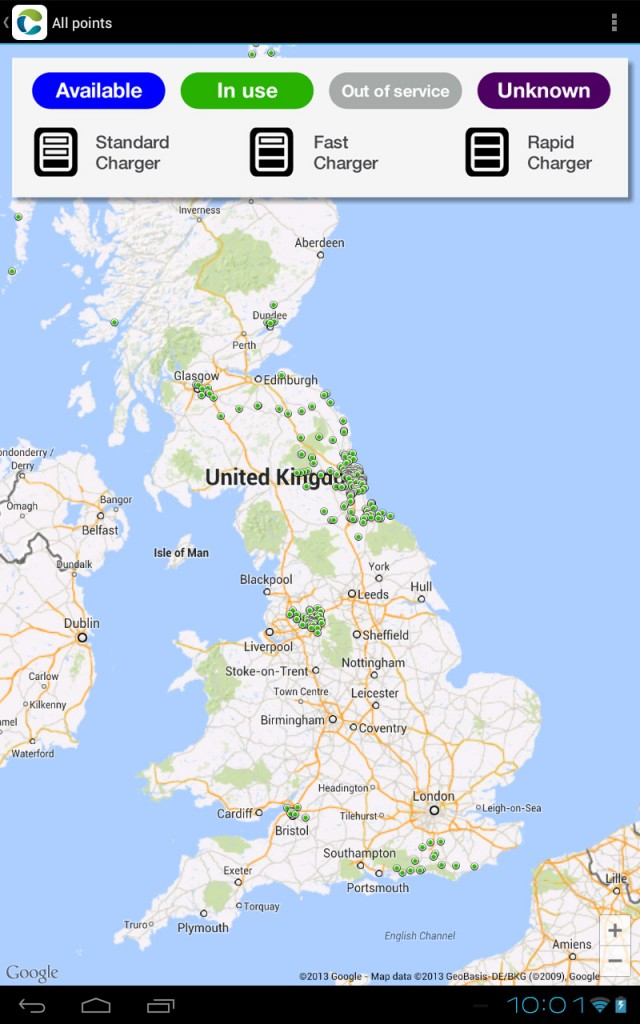 "Charge Your Car - UK Locations shown on map of ""all"" charging points"