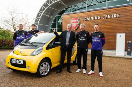 Arsenal Football Club adds two all-electric Citroën C-Zero models to the Club's vehicle fleet
