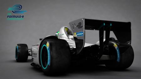 New Formula E car - 3D rendering - Rear View