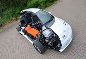 New Tech in Nissan Leaf Cut-Away Car Photo