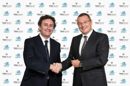 Jean-Christophe Babin, President and CEO of TAG Heuer (on the right), and Alejandro Agag, CEO of Formula E Holdings