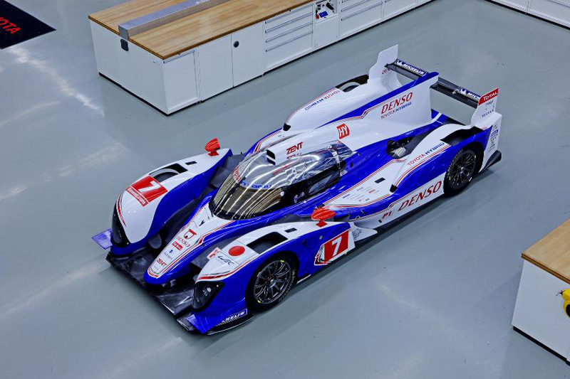 Toyota TS030 Hybrid cars to compete in the elite LMP1 class at Le Mans 24hr