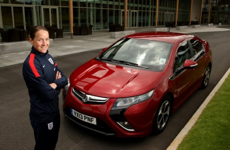 England Women's football captain Casey Stoney, takes delivery of Ampera