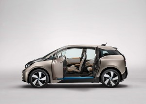 BMW i3 - showing off it's 'suicide' rear doors and open, airy interior.