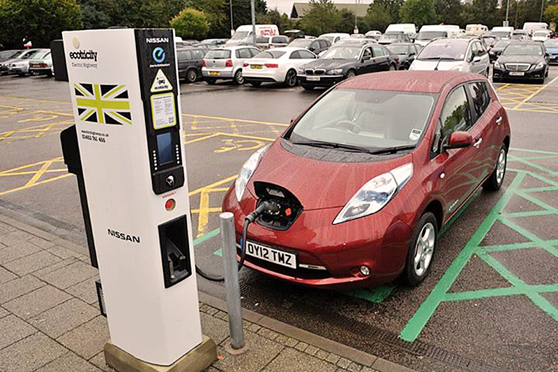Ecotricity fast charger at Welcome Break with Nissan Leaf plugged in