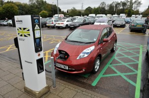 A Nissan Leaf at a new rapid charger at South Mimms Welcome Break service station