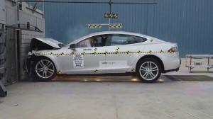 Tesla Model S during front impact crash test