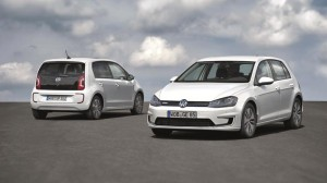 Volkswagen e-Golf electric car (right) and e-up! (back of car, left)
