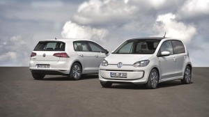 Volkswagen e-up! electric car (right) and e-Golf (back of car, left)