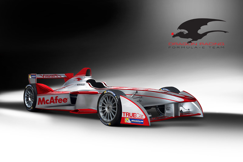 The new car livery for the Dragon Racing Formula E Team