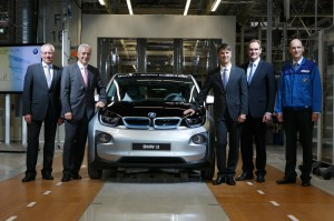 Start of series production of the BMW i3 in Leipzig. From the left: Senior Vice President BMW Leipzig Plant, Manfred Erlacher, Minister President of the state of Saxony, Stanislaw Tillich, BMW AG Board Member for Production, Harald Krüger, Mayor of Leipzig, Burkhard Jung, and Head of Production Electric Vehicles, Dr. Helmut Schramm.