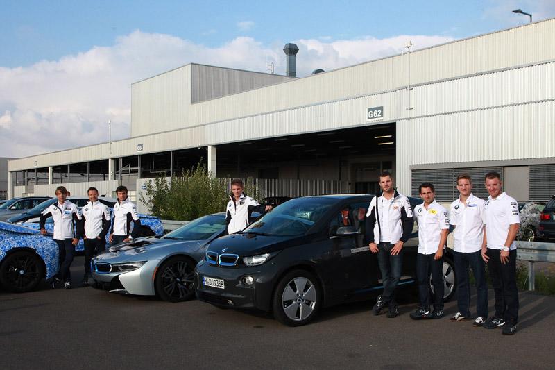 Leipzig (DE) 12th September 2013. BMW Motorsport, PR Event, Augusto Farfus (BR), Andy Priaulx (GB), Bruno Spengler (CA), Marco Wittmann (DE), Martin Tomczyk (DE), Timo Glock (DE), Dirk Werner (DE) and Joey Hand (US) on the i3 and i8.