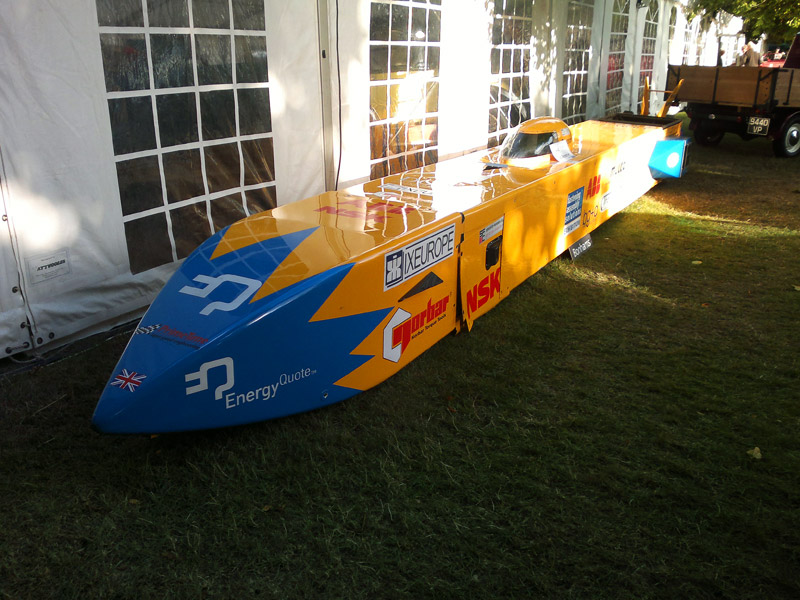 """Electric Streamliner World Land Speed Record Contender """"E=motion"""" outside the marquee at Beaulieu ahead of it's sale"""
