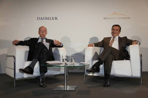 The chief executives of the Renault-Nissan Alliance and Daimler AG - Dieter Zetsche (left) and Carlos Ghosn (right)