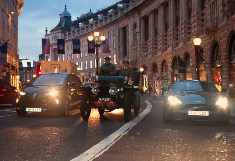 Cars on display on Regent Street to launch the Motor Show