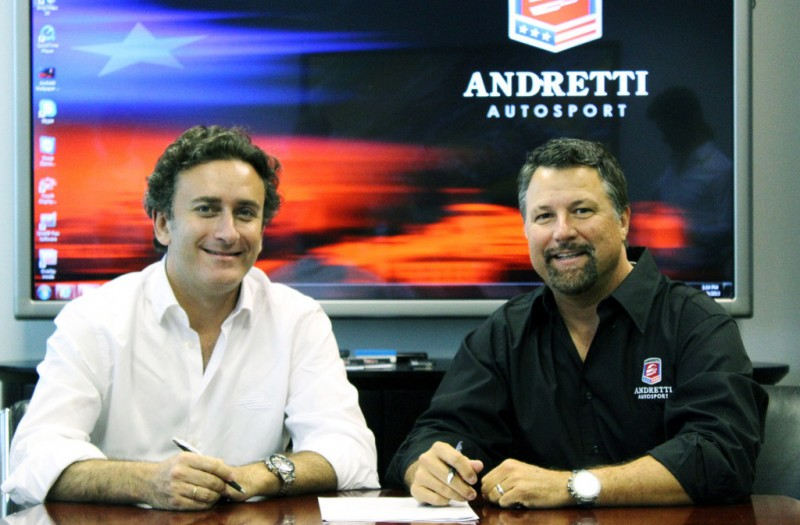 Alejandro Agag and Michael Andretti during the announcement that Andretti Sports Marketing will host the Miami Formula E race