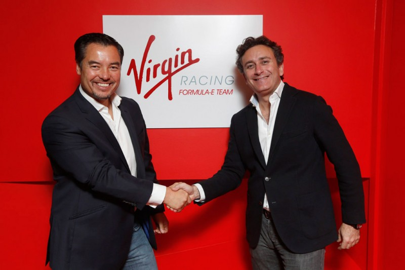 Alex Tai (left), Team Principal of the Virgin Racing Formula E Team, together with Alejandro Agag, CEO of series promoters Formula E Holdings