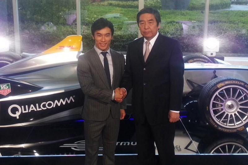 New Formula E development driver Takuma Sato (left) with Hiroshi Hayakawa, President of TV Asahi