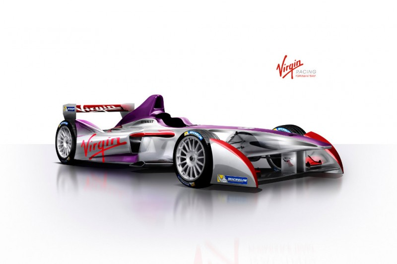 The new car livery for the Virgin Racing Formula E Team