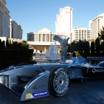 The Formula E car outside the famous Ceasars Palace in Las Vegas during its public debut