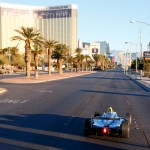 Lucas di Grassi driving the new Formula E car along the famous Las Vegas Strip and in public for the first ever time