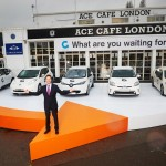 Nick Clegg outside the Ace Cafe London for the Go Ultra Low campaign