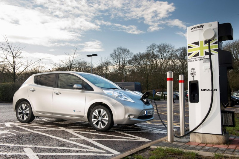 Nissan LEAF at an Ecotricity fast charger