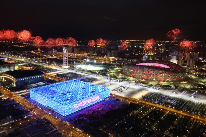 The Beijing Olympic Stadium (Bird's Nest) where the world's first fully-electric Formula E race will take place.