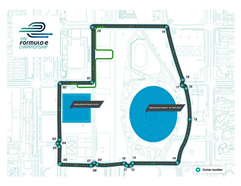The full circuit for the Beijing Formula E Grand Prix.