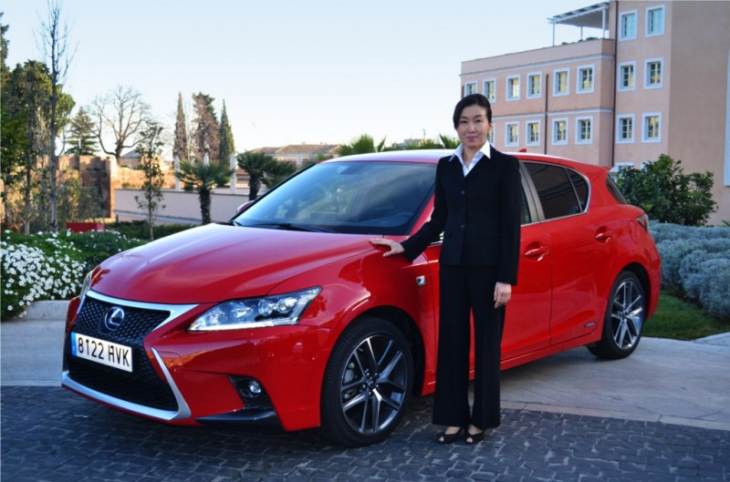 Chief Engineer Chika Kako with a Fuji Red CT 200h F Sport
