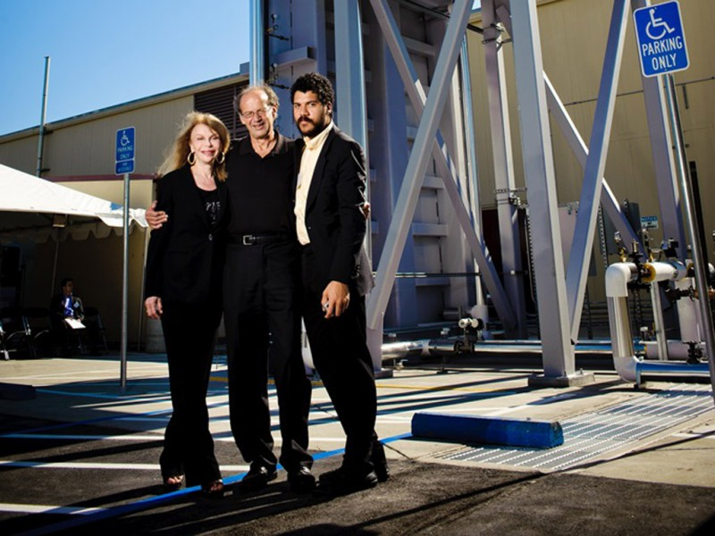 (Left to right) Global Thermostat founders Graciela Chichilnisky, Peter Eisenberger and Ben Bronfman next to their carbon capture technology