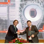 Formula E CEO Alejandro Agag (left) and Cao Bin, Head of Sports & Entertainment at CCTV during the signing of the initial broadcast deal