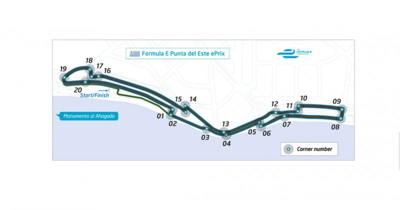 The circuit layout for the Punta del Este ePrix, round 3 of the FIA Formula E Championship