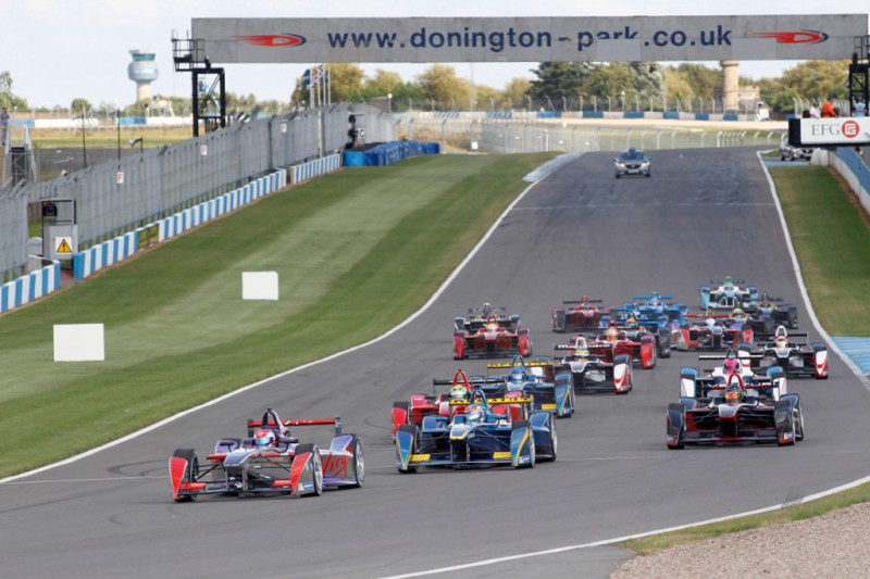 Action from the second Formula E event simulation at Donington Park
