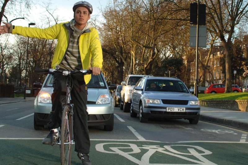 bicycle waiting to turn at traffic lights