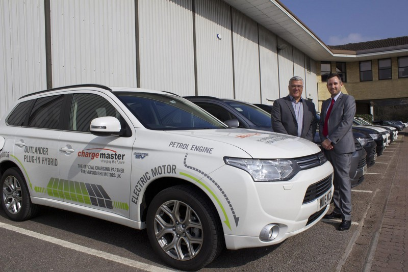 James Jean-Louis (left) with Richard Shortridge and a Mitsubishi Outlander PHEV