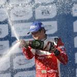 Nelson Piquet Jr celebrates his maiden Formula E victory at Long Beach