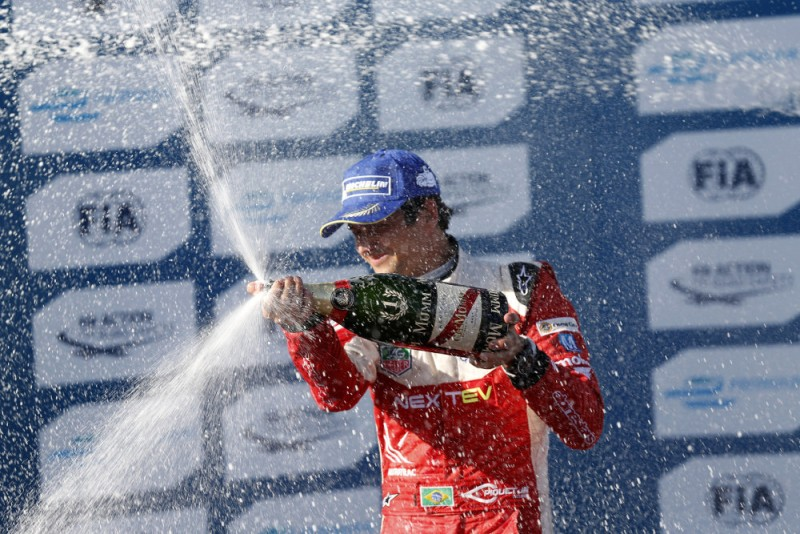Nelson Piquet Jr celebrates his maiden Formula E victory at Long Beach