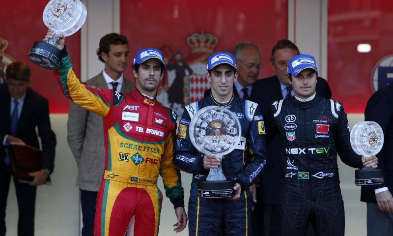 Buemi on the top step of the podium in Monaco ePrix