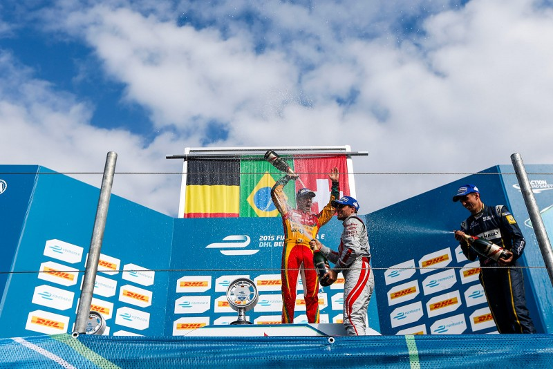 Formula E Lucas di Grassi (Audi Sport ABT) celebrates his victory at the DHL Berlin ePrix - before the decision to exclude him from the race due to front wing modifications found in post-race scrutineering