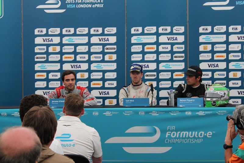 Post race driver conference with Jerome D'Ambrosio, Sam Bird & Nelson Piquet Jr - Formula E London ePrix 28 June 2015 - AutoVolt