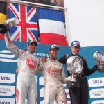 From left to right, Jerome D'Ambrosio, Sam Bird & Loic Duval - Formula E London ePrix 28 June 2015 - AutoVolt