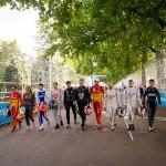 drivers prepare to race, in a 100m sprint that is - Formula E Visa London ePrix Battersea Park